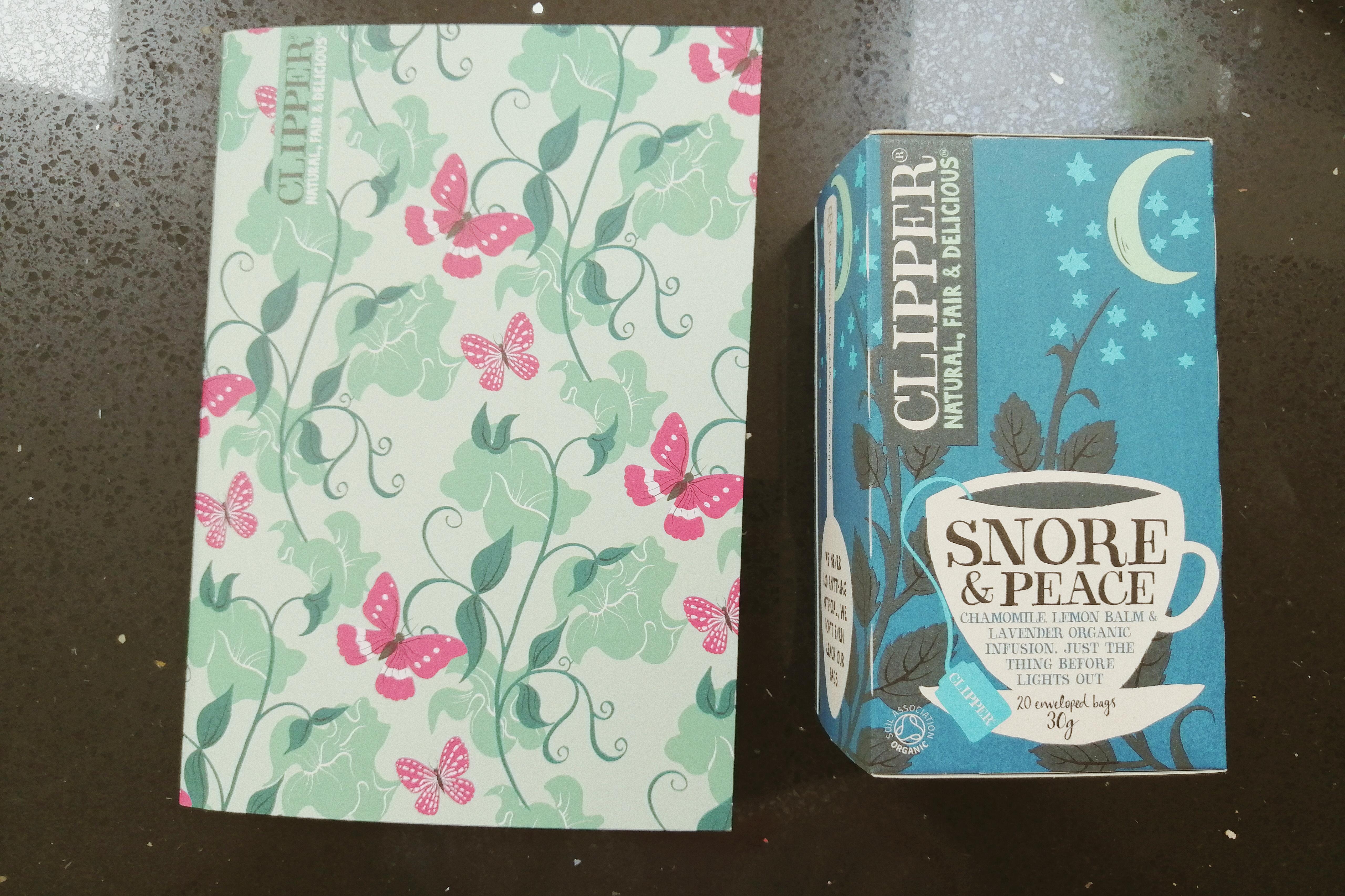 clipper tea, notebook, clipper, tea bags